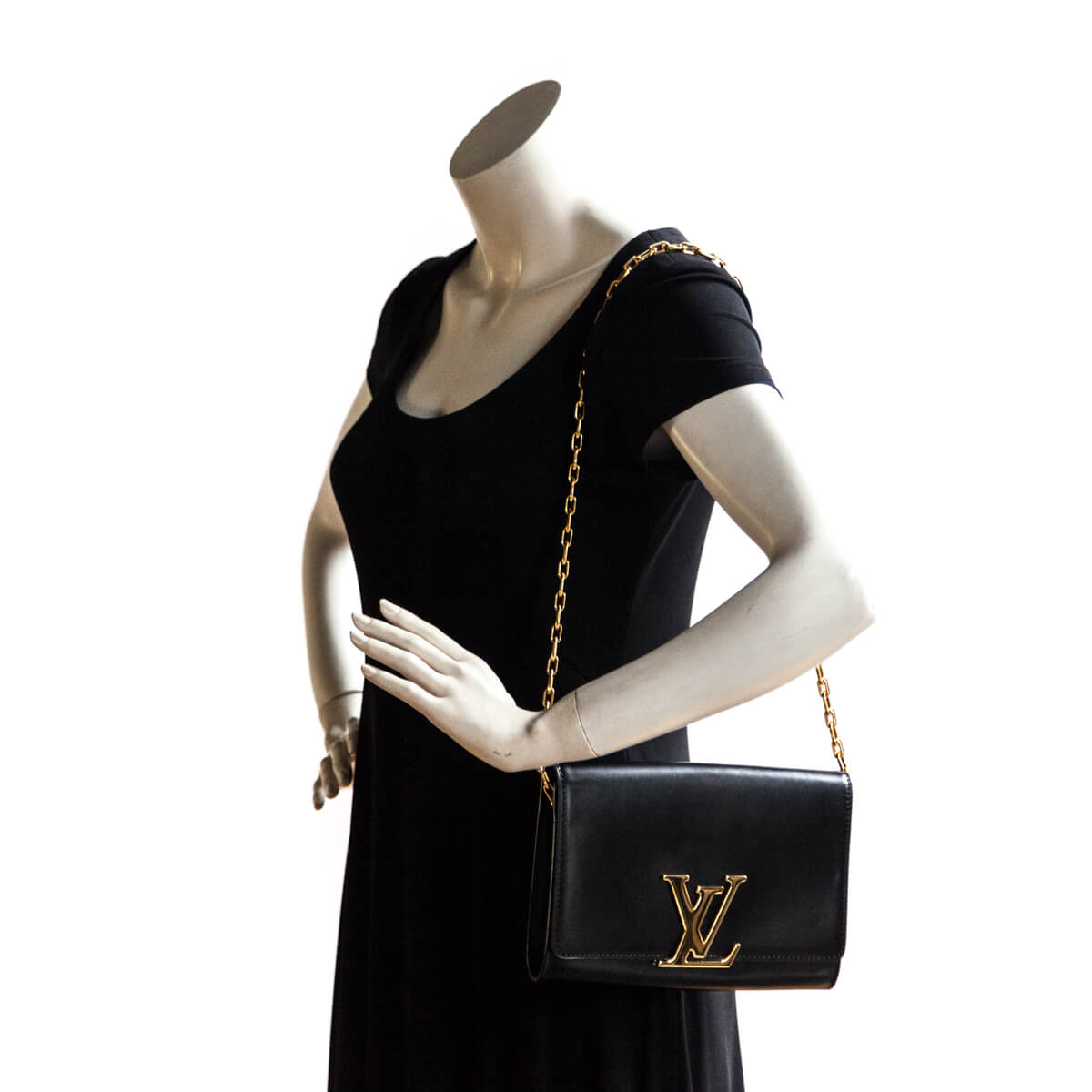 a191dfd3728 ... Louis Vuitton Black Calfskin Chain Louise GM - LOVE that BAG - Preowned  Authentic Designer Handbags