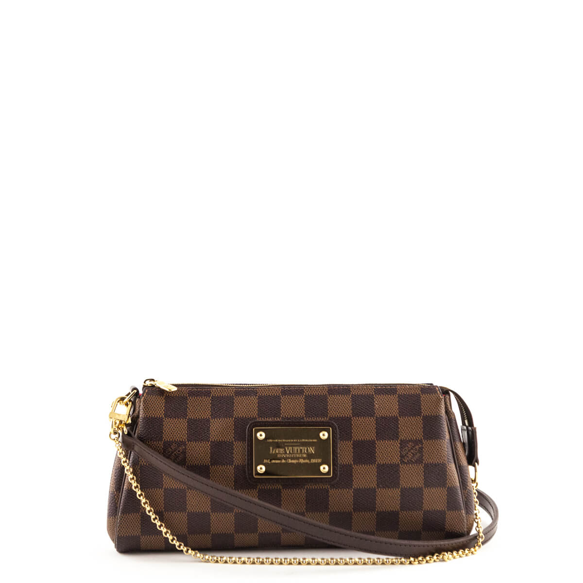 e0c5da6035be Louis Vuitton Damier Ebene Eva Clutch - LOVE that BAG - Preowned Authentic  Designer Handbags ...