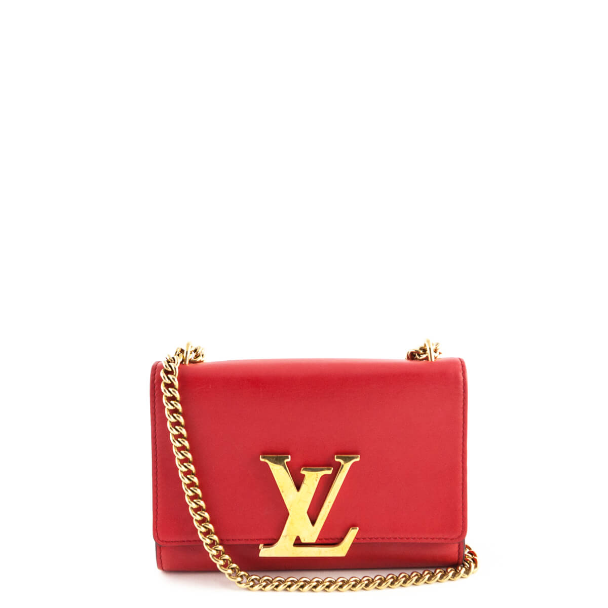 49466aaa08d0 Louis Vuitton Red Calfskin Chain Louise MM - LOVE that BAG - Preowned  Authentic Designer Handbags ...