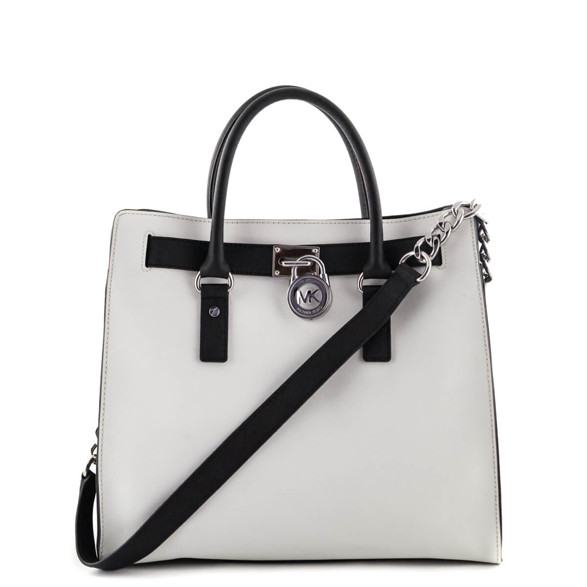 Michael Kors Black   White Saffiano Hamilton Tote - LOVE that BAG -  Preowned Authentic Designer ... e0276b2a6d980