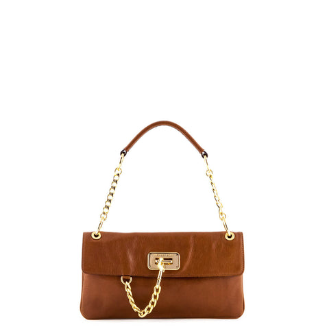 Michael Kors Tan Leather Clasp Detail Clutch
