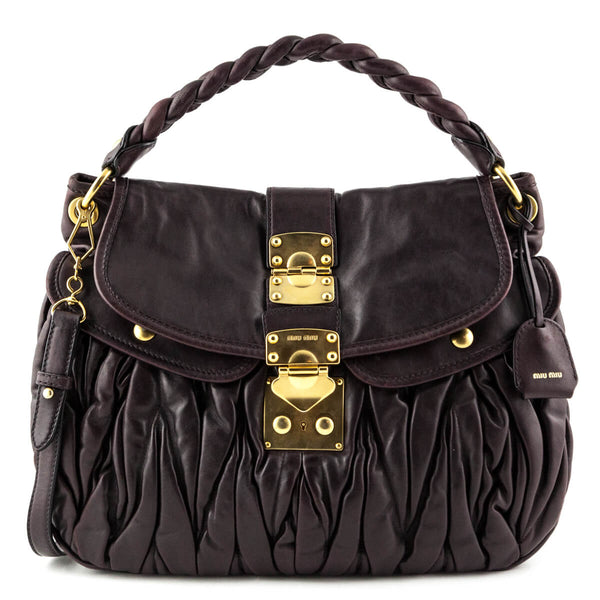 bf1c4cfc46d8 Miu Miu Aubergine Nappa Lux Coffer Bag - LOVE that BAG - Preowned Authentic  Designer Handbags