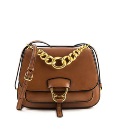 Miu Miu Brandy Medium Dahlia Madras Leather Saddle Bag - 1