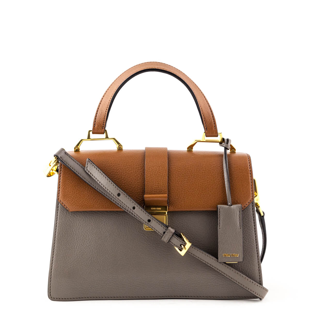 Miu Miu Brown and Gray Madras Top Handle - LOVE that BAG - Preowned  Authentic Designer ... cb40076578bee