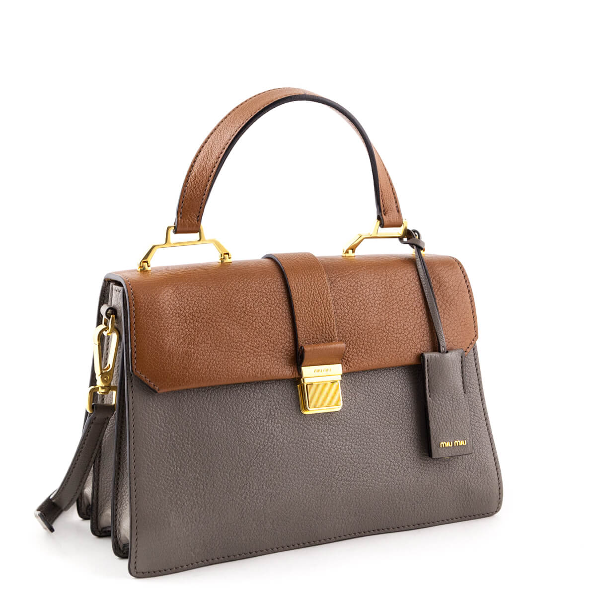 a8bcb5a6ea12 Miu brown and gray madras top handle love that bag preowned authentic  designer jpg 1200x1200 Gray