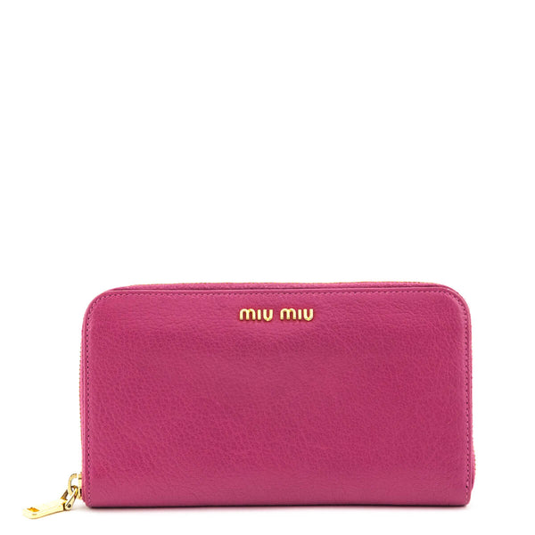 d7e5d03e96e17 Miu Miu Fuchsia Leather Zip Around Wallet - LOVE that BAG - Preowned  Authentic Designer Handbags