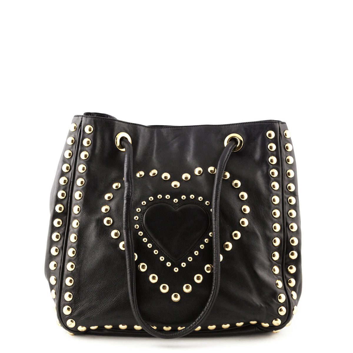 cfcb022fa9 Moschino by Redwall Black Leather Studded Heart Tote - LOVE that BAG -  Preowned Authentic Designer ...