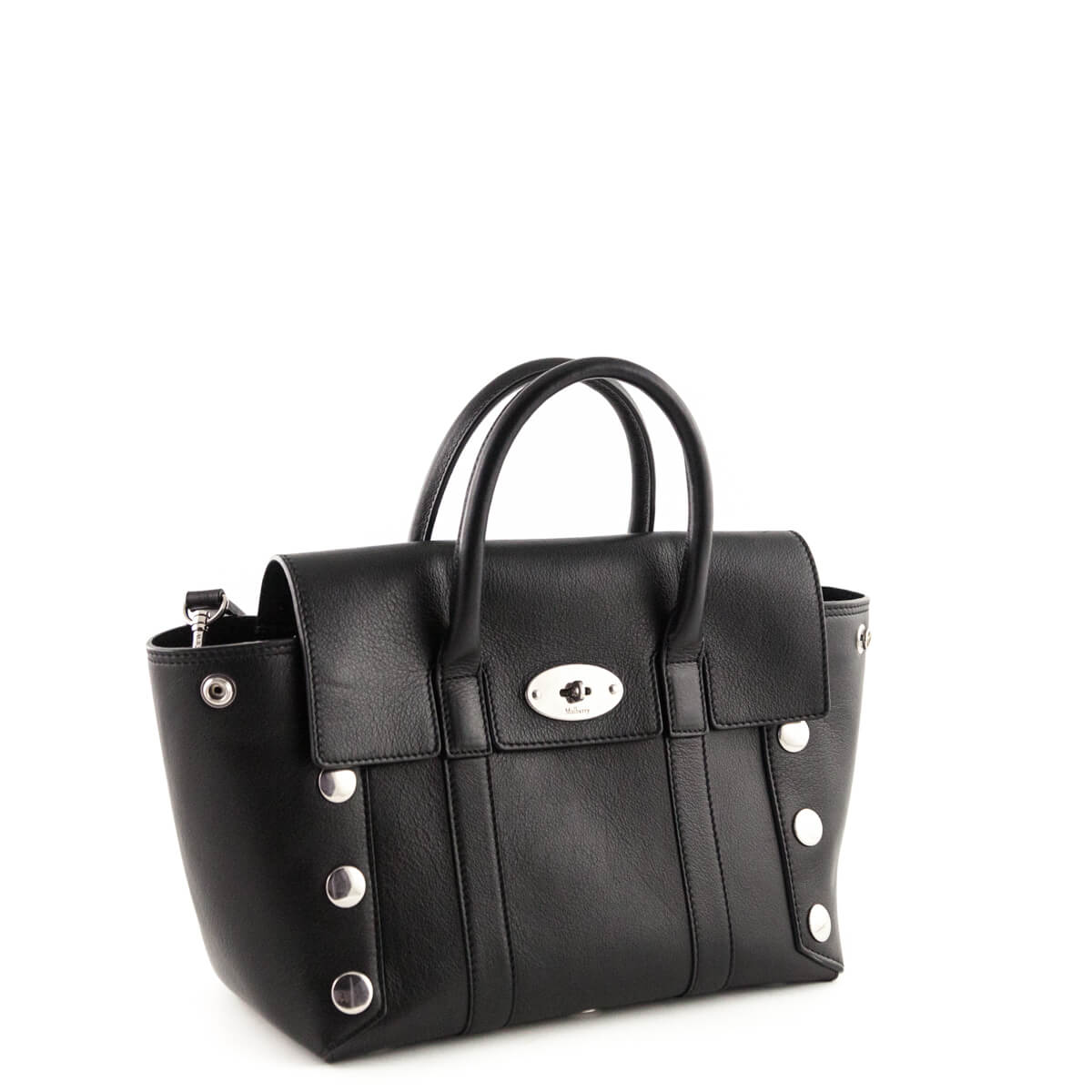 ... Mulberry Black Calfskin Small Studded New Bayswater Tote - LOVE that BAG  - Preowned Authentic Designer ... c8b42c4ba9253