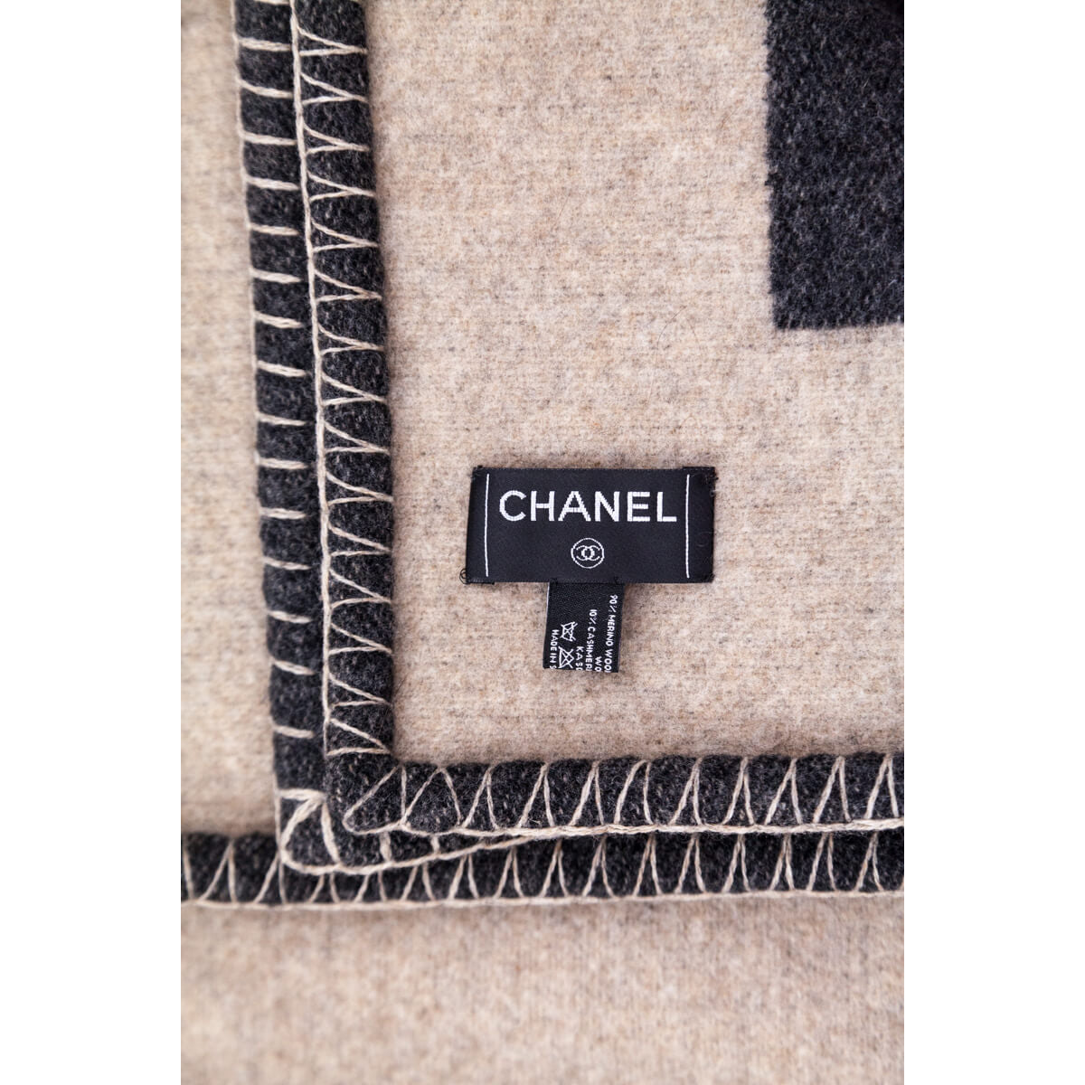 Image of: Chanel Taupe And Black Wool And Cashmere Cc Blanket Designer Blanket