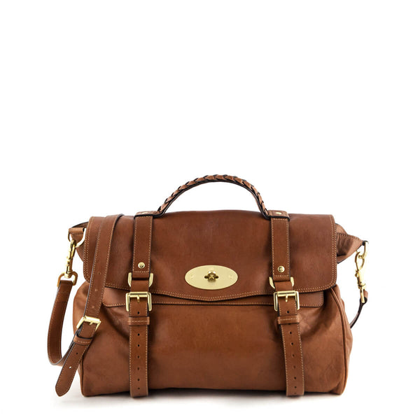 172a6b731b Mulberry Oak Buffalo-Leather Oversized Alexa Satchel - LOVE that BAG -  Preowned Authentic Designer