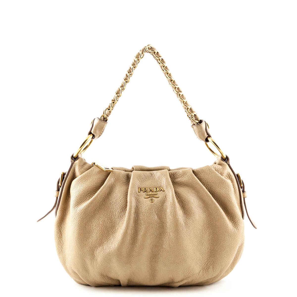 fc4f0ee68a04 Prada Tan Sparkly Nappa Leather Chain Shoulder Bag - LOVE that BAG -  Preowned Authentic Designer ...