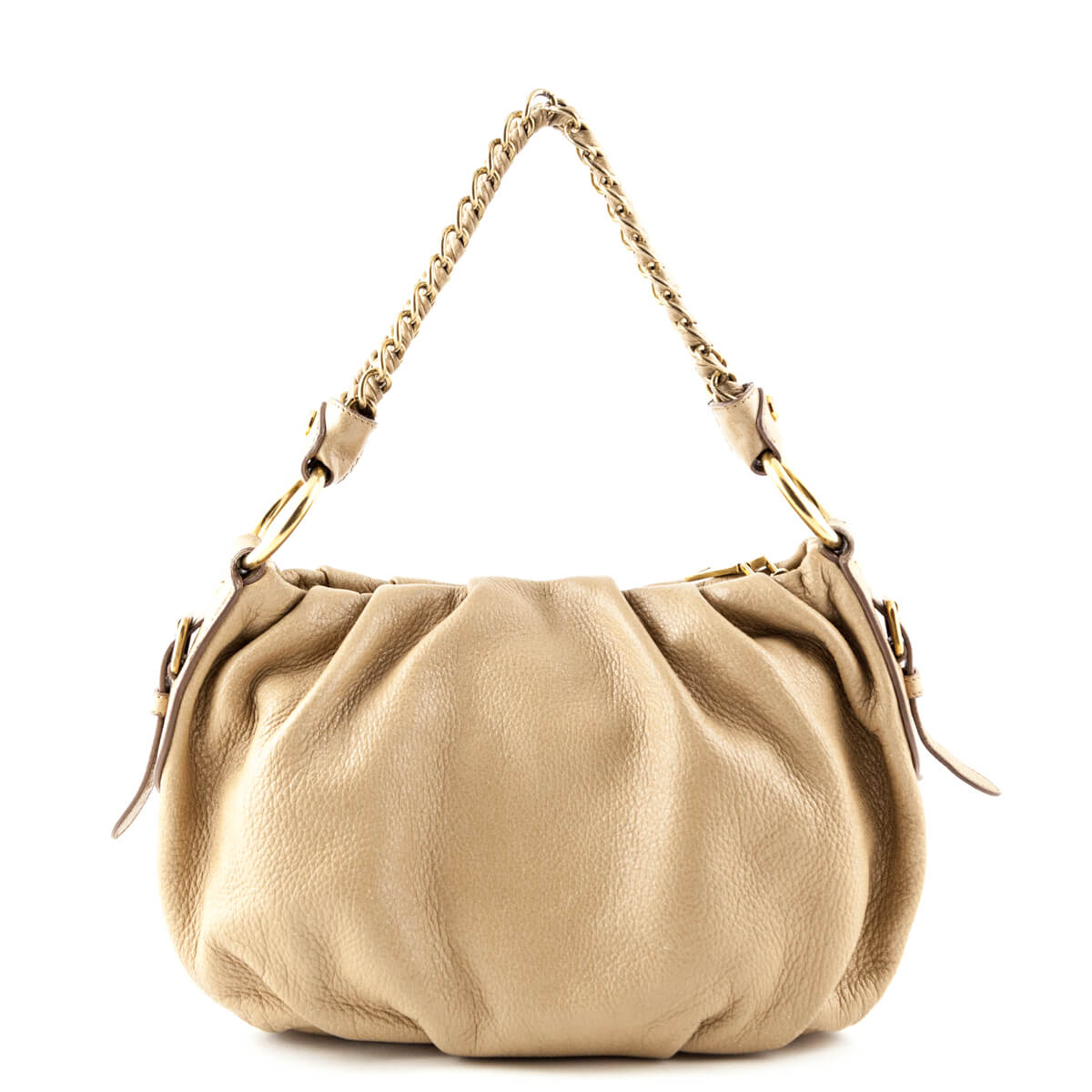 12ba3215c9e9 ... Prada Tan Sparkly Nappa Leather Chain Shoulder Bag - LOVE that BAG -  Preowned Authentic Designer ...