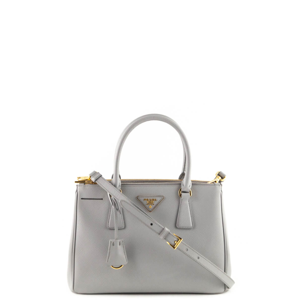 257de32acc015c Prada Astral Gray Saffiano Small Galleria Double Zip Lux Tote - LOVE that  BAG - Preowned ...