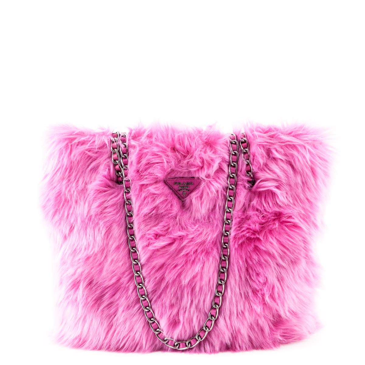 Prada Begonia Faux Fur Eco Pelliccia Chain Tote - LOVE that BAG - Preowned  Authentic Designer ... 63681deb794c6