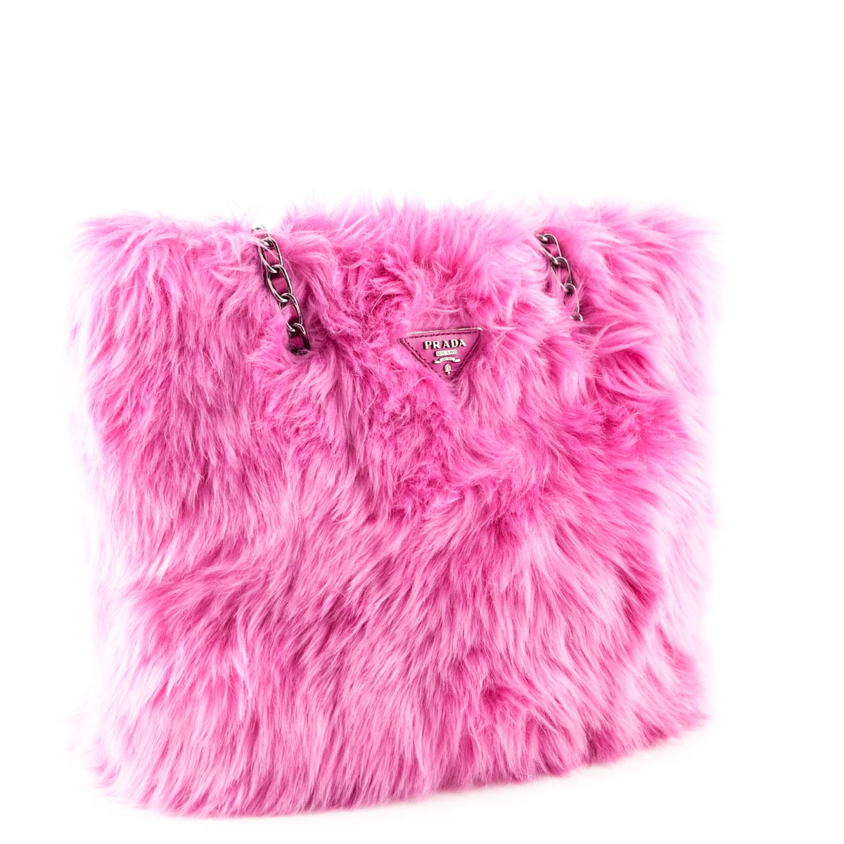 ... Prada Begonia Faux Fur Eco Pelliccia Chain Tote - LOVE that BAG -  Preowned Authentic Designer ... 921e0817031b8