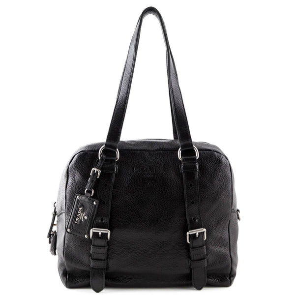 5a0b9f77fe4c Prada Black Cervo Bowler Bag - LOVE that BAG - Preowned Authentic Designer  Handbags