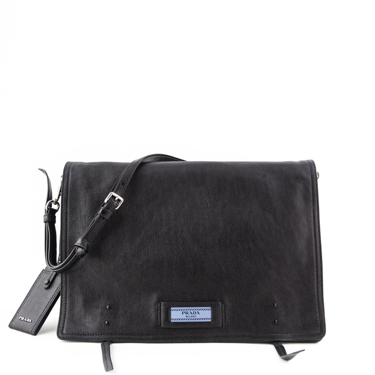 3e1483f98fc2 Prada Black Glace Calf Large Etiquette Shoulder Bag - LOVE that BAG -  Preowned Authentic Designer ...