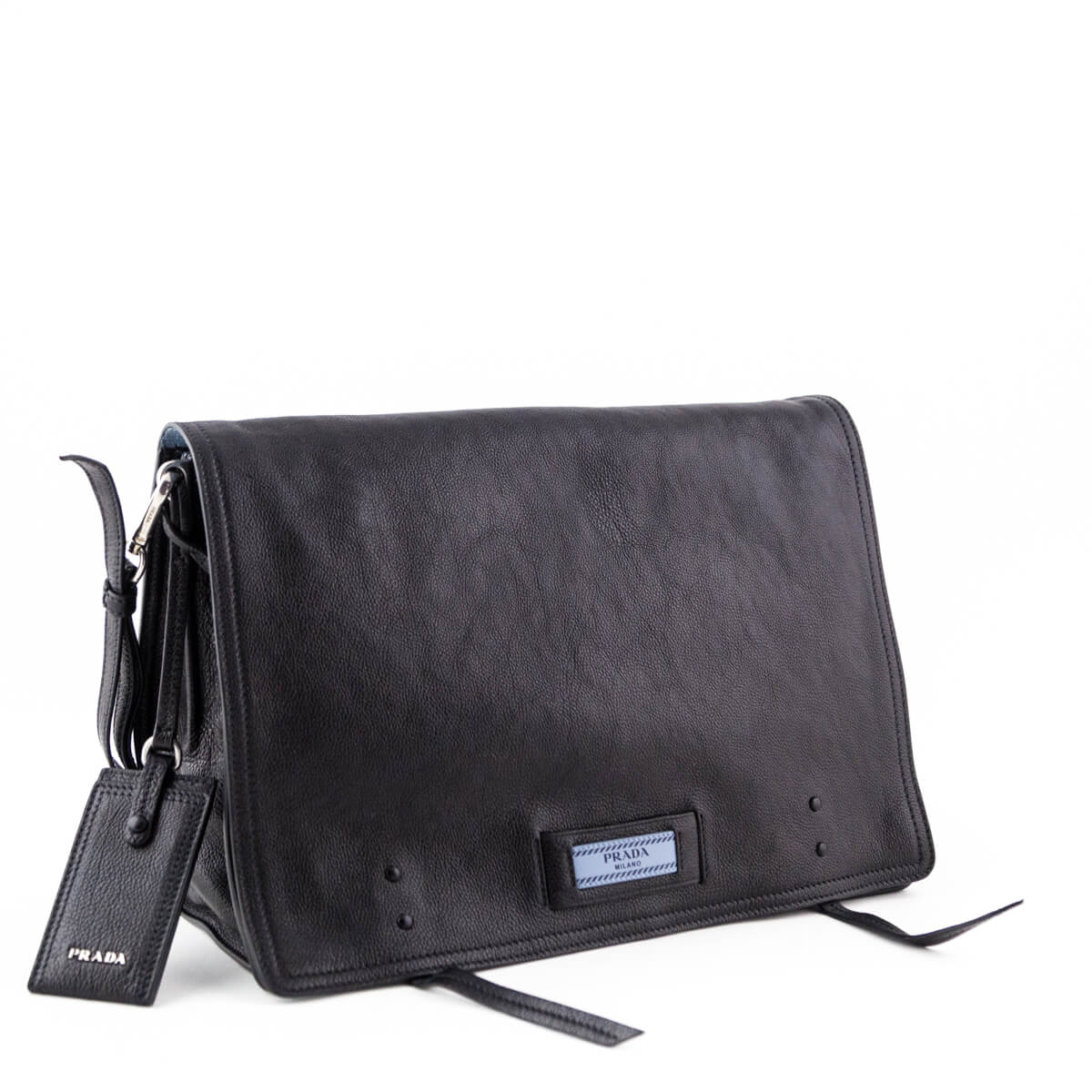 605b5114873889 ... Prada Black Glace Calf Large Etiquette Shoulder Bag - LOVE that BAG -  Preowned Authentic Designer ...