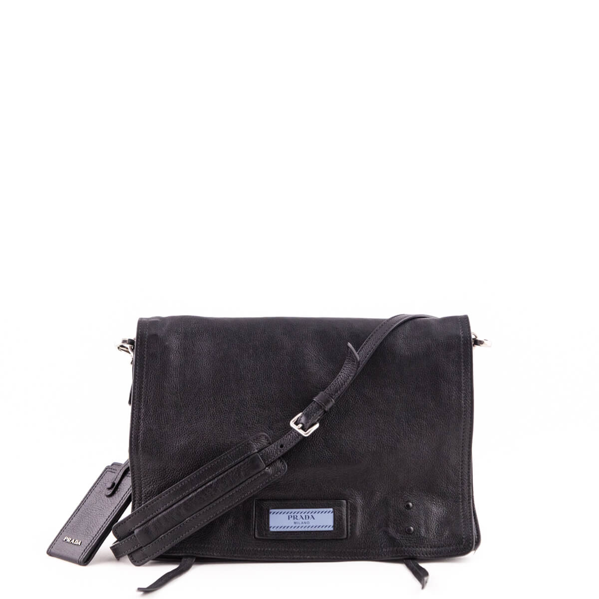 c997e89ccf5c26 Prada Black Glace Calf Small Etiquette Shoulder Bag - LOVE that BAG -  Preowned Authentic Designer ...