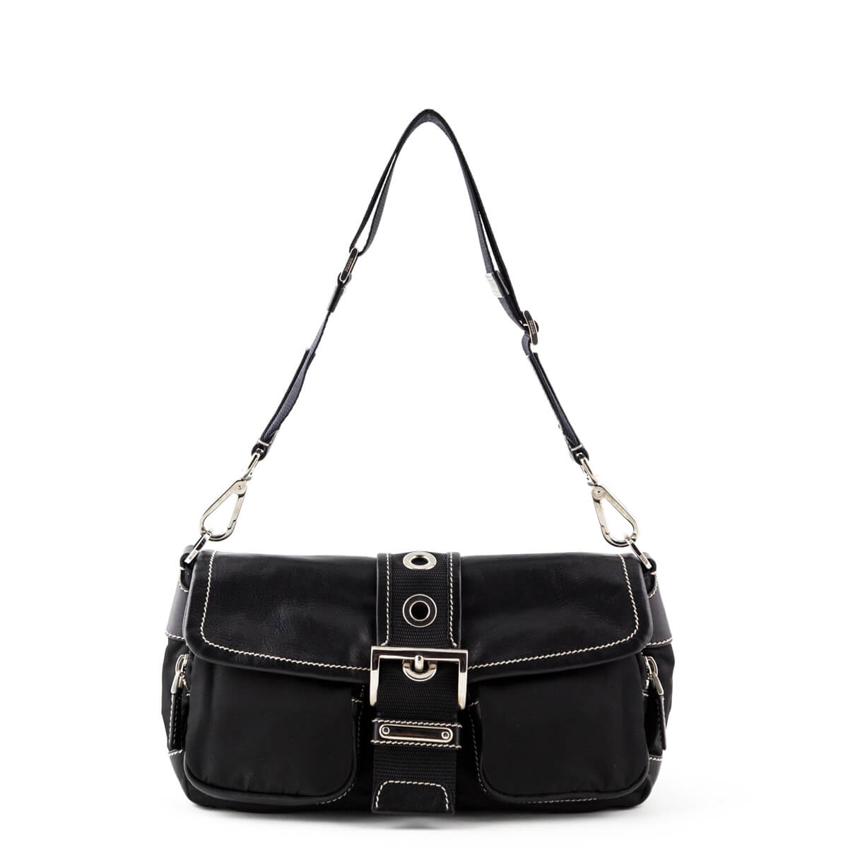 d53c9d75e487d0 Prada Black Leather-Trimmed Tessuto Belted Shoulder Bag - LOVE that BAG -  Preowned Authentic ...