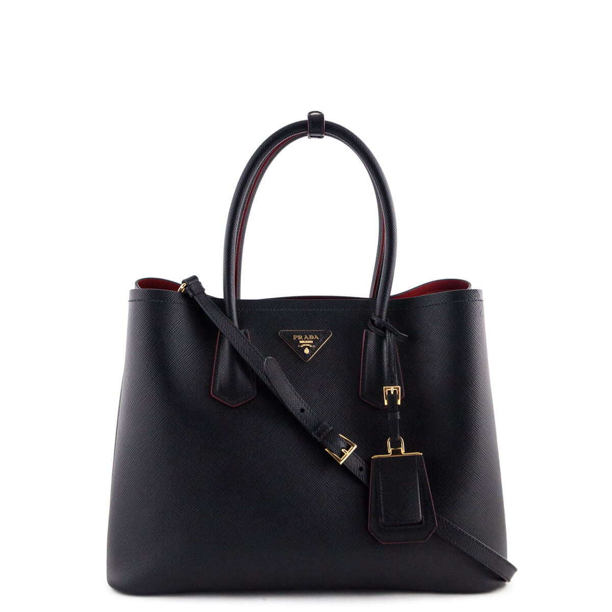 Prada Black Saffiano Double Bag - LOVE that BAG - Preowned Authentic  Designer Handbags ... f1cc770a07