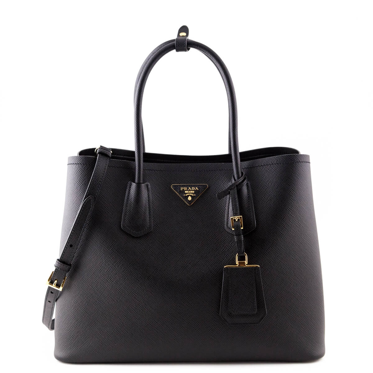 Prada Black Saffiano Double Bag - LOVE that BAG - Preowned Authentic  Designer Handbags ...