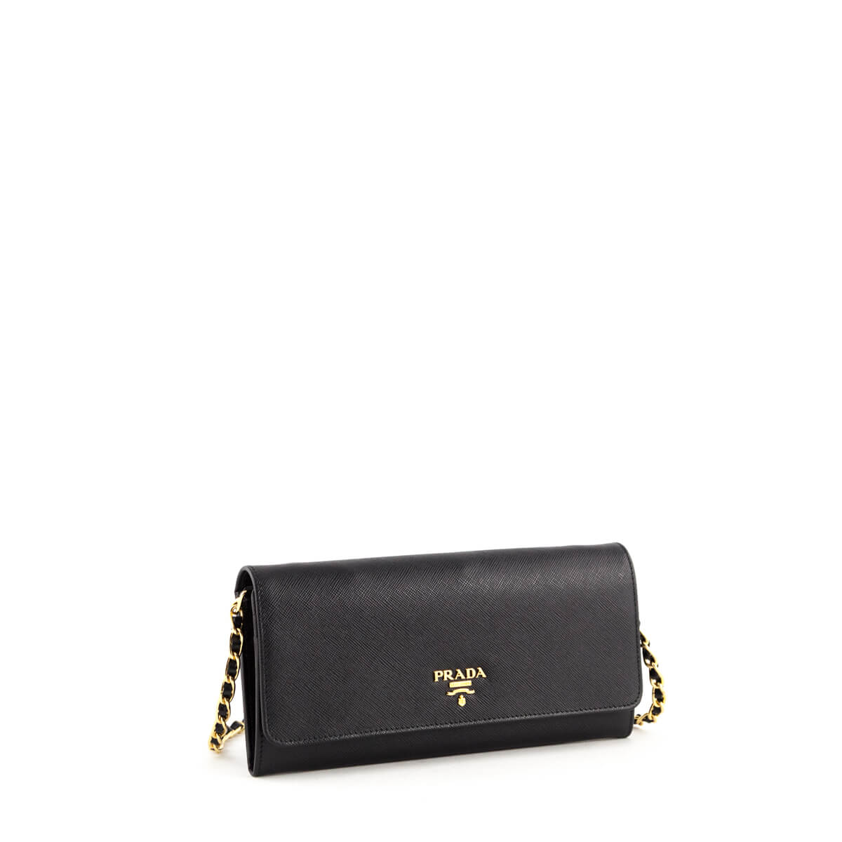 b28382f6542a ... Prada Black Saffiano Metal Oro Wallet on Chain - LOVE that BAG -  Preowned Authentic Designer ...
