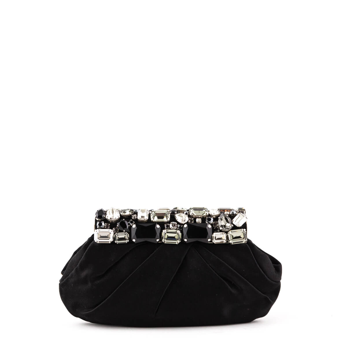 10811c765394 Prada Black Satin Embellished Clutch - LOVE that BAG - Preowned Authentic  Designer Handbags ...