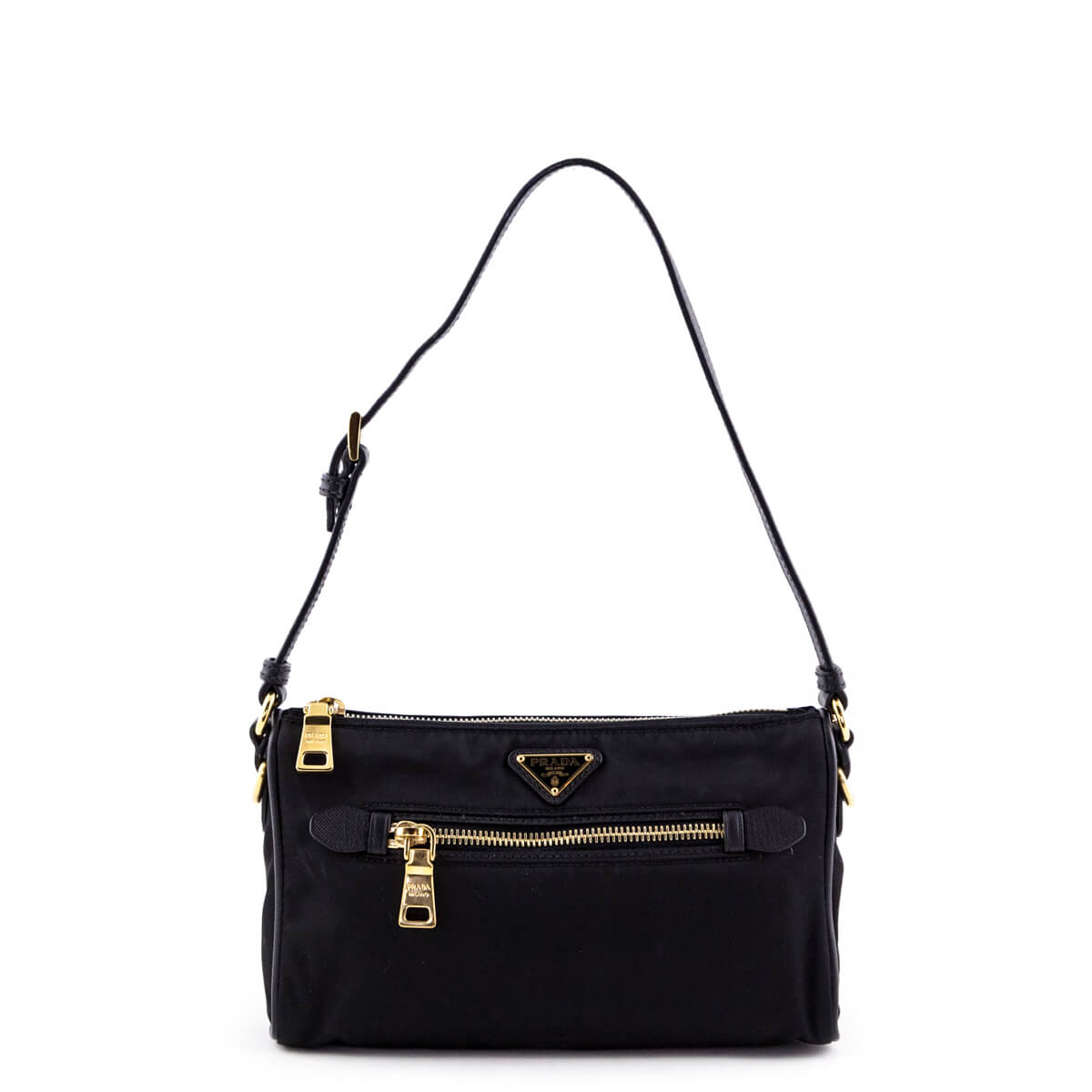 c255fd7a6a Prada Black Tessuto Saffiano Trimmed Sottospalla Shoulder Bag - LOVE that  BAG - Preowned Authentic Designer ...