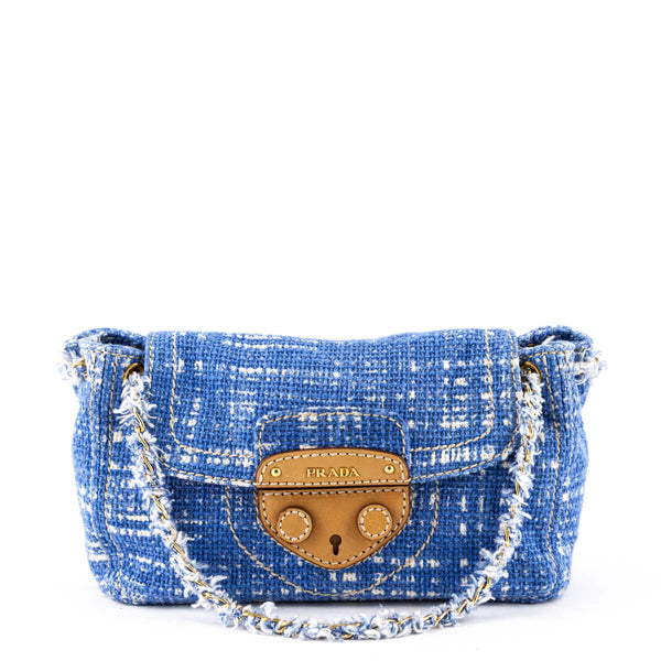 d14d13443299ae Prada Blue & White Tweed Tela Flap Shoulder Bag - LOVE that BAG - Preowned  Authentic