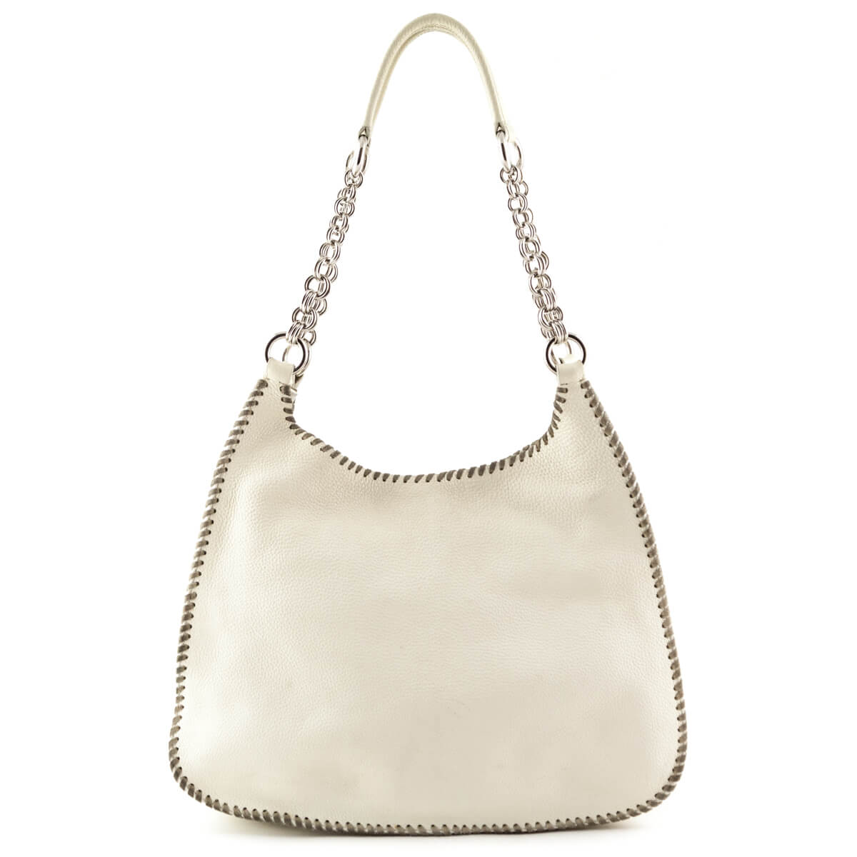 4dda320b3859 Prada Cream Vitello Daino Whipstich Shoulder Bag - LOVE that BAG - Preowned Authentic  Designer Handbags ...