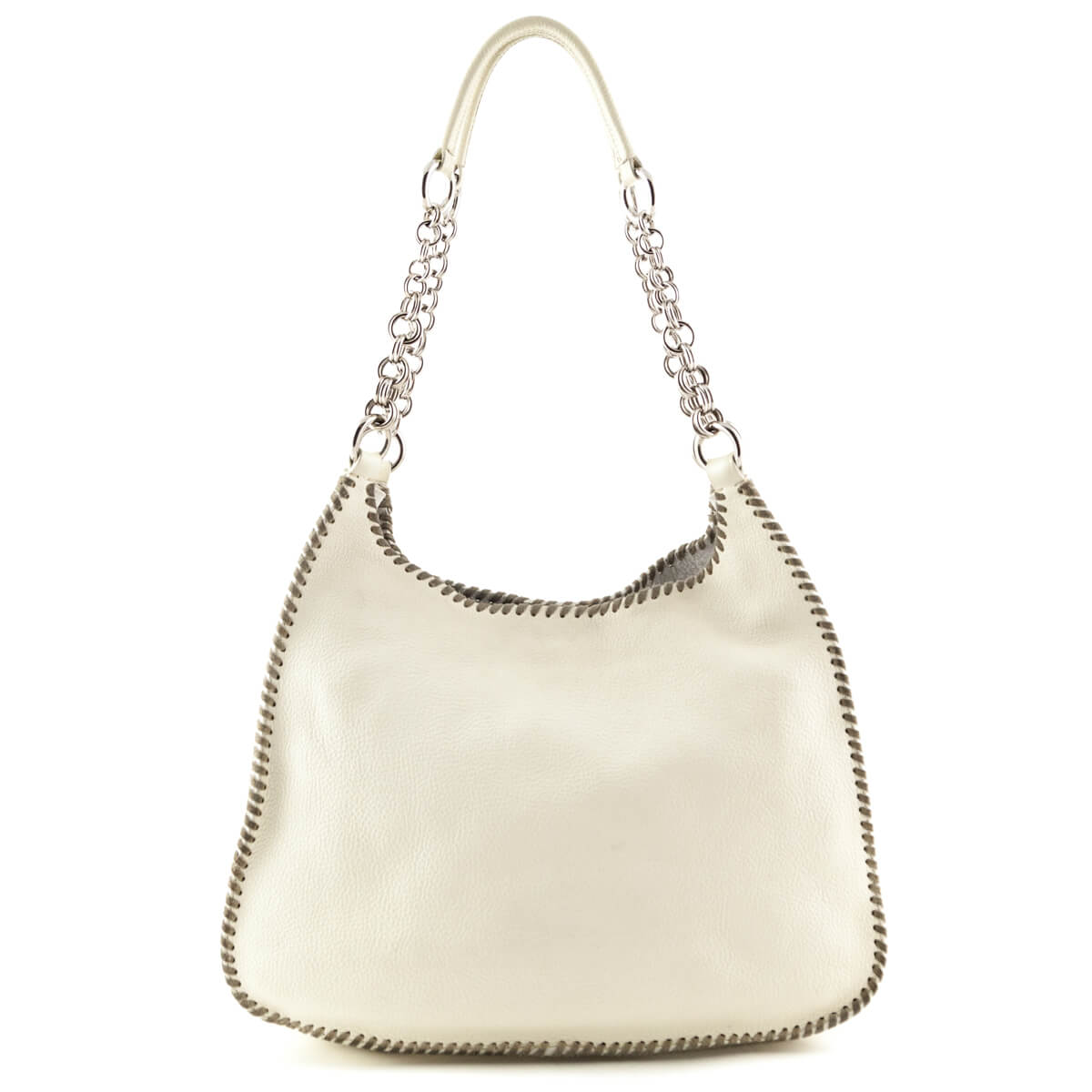 b416389b6e46 ... Prada Cream Vitello Daino Whipstich Shoulder Bag - LOVE that BAG -  Preowned Authentic Designer Handbags ...