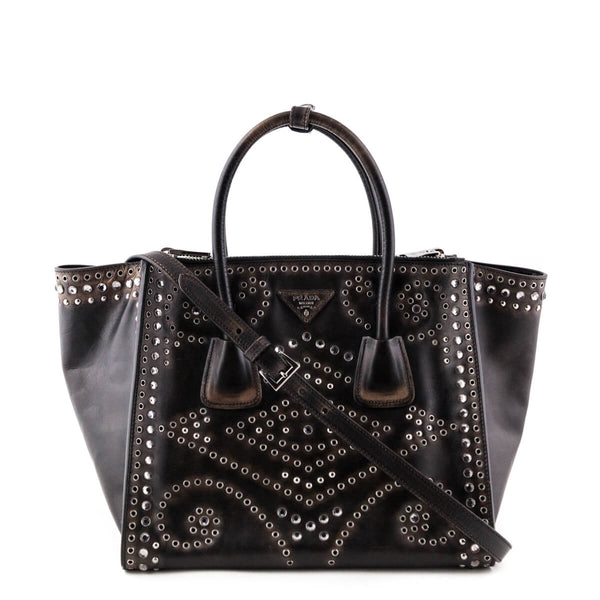 Prada Ebano Vitello Vintage Crystal Embellished City Twin Pocket Tote -  LOVE that BAG - Preowned 2a9a9bbd66eb6