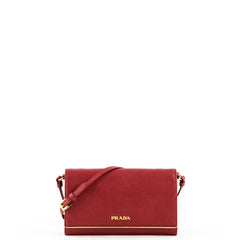 Prada Fuoco Red Saffiano Metal Wallet on a Strap
