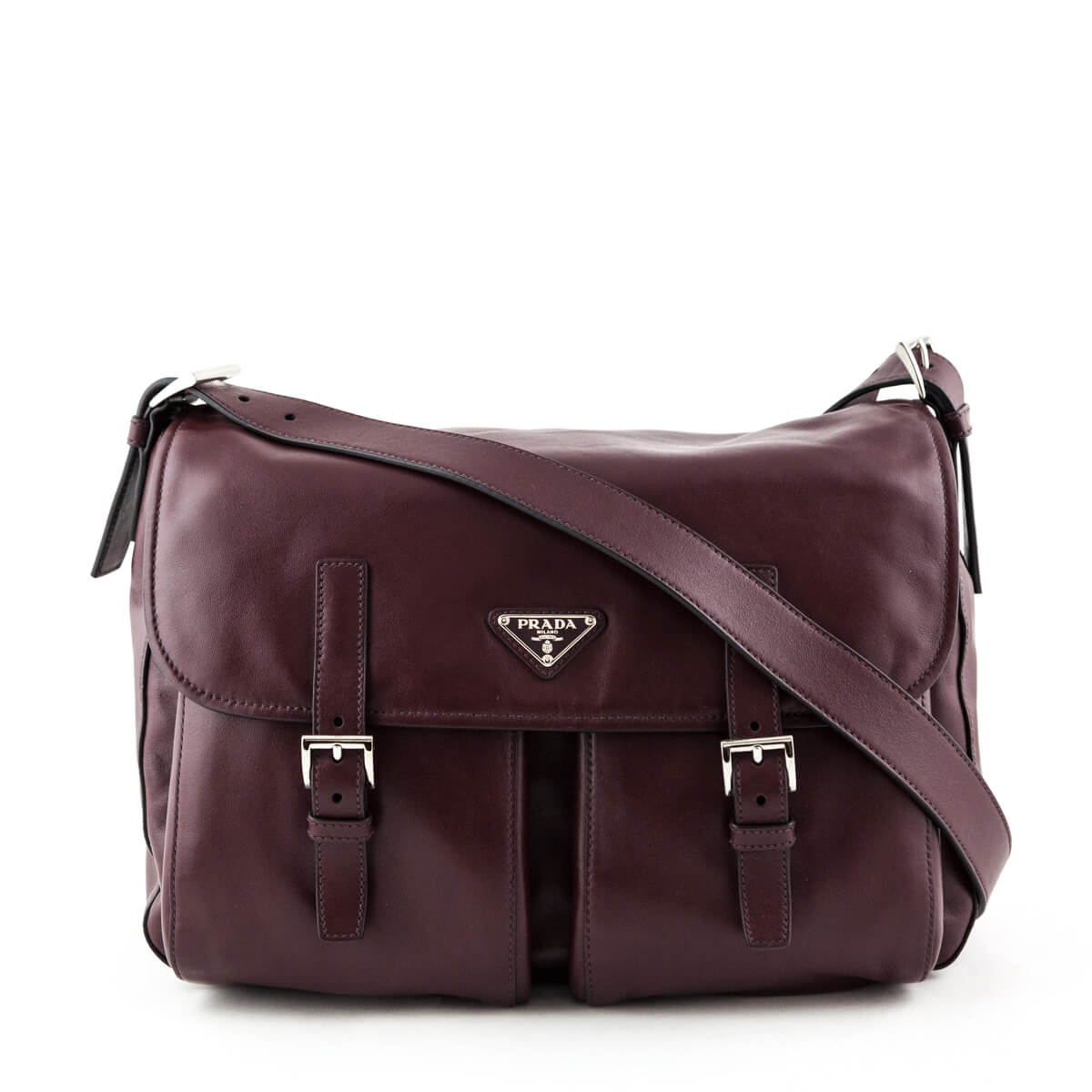 f3a5b30827 Prada Granato Soft Calfskin Pattina Messenger Bag - LOVE that BAG -  Preowned Authentic Designer Handbags ...