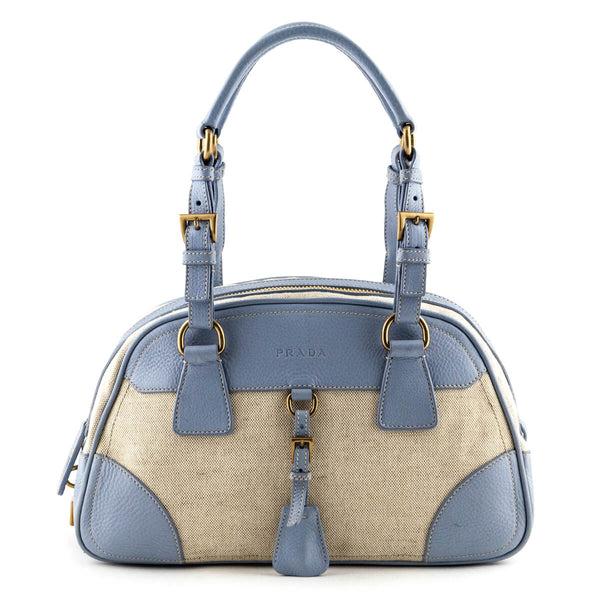 5030eff39cb4 Prada Light Blue & Beige Bowler Bag - LOVE that BAG - Preowned Authentic  Designer Handbags