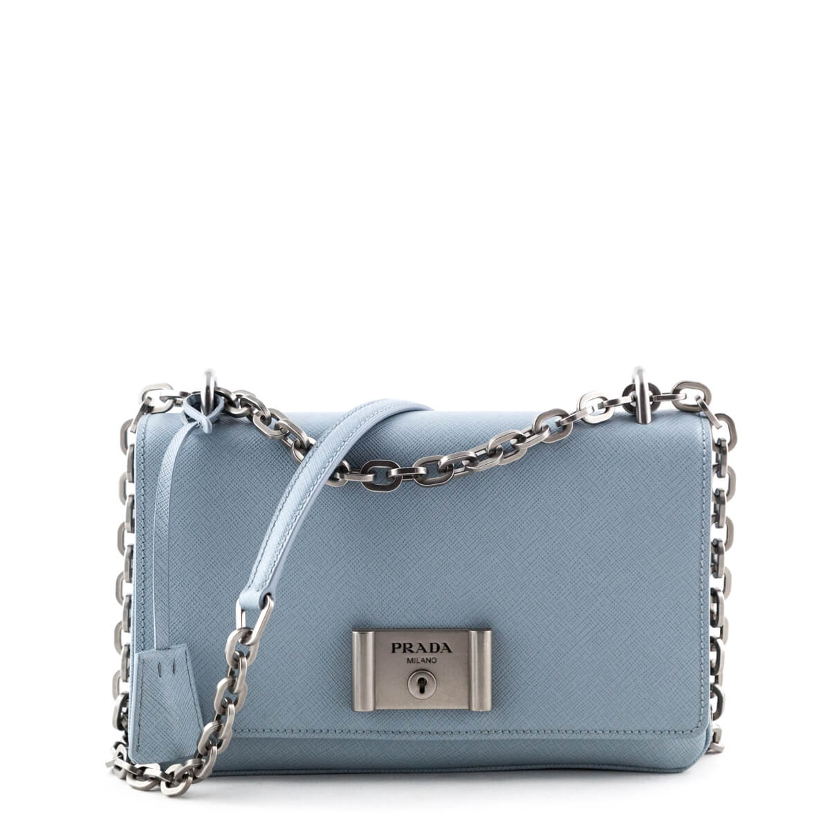 49e01cdfb2 Prada Light Blue Saffiano Lux Chain Shoulder Bag - LOVE that BAG - Preowned  Authentic Designer ...