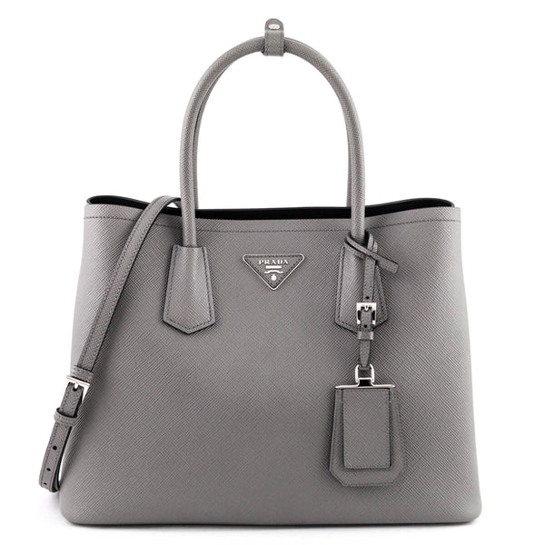 7fa163cd6d09 Prada Marmo Gray Saffiano Double Medium Bag - LOVE that BAG - Preowned  Authentic Designer Handbags