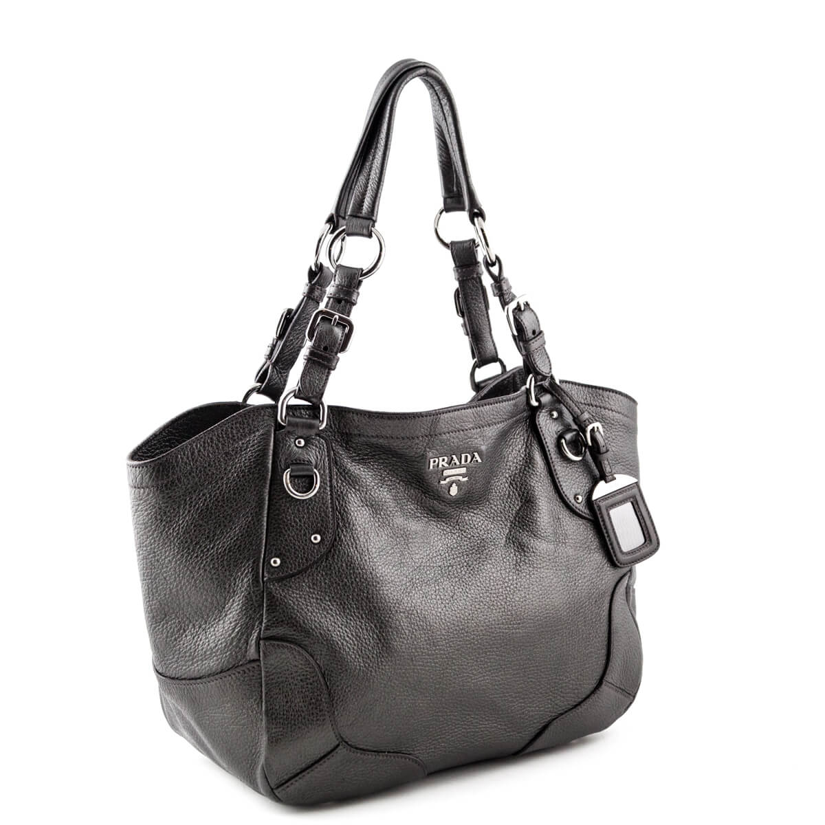 08363cbe47f6 ... Prada Metallic Charcoal Vitello Daino Shoulder Bag - LOVE that BAG -  Preowned Authentic Designer Handbags ...
