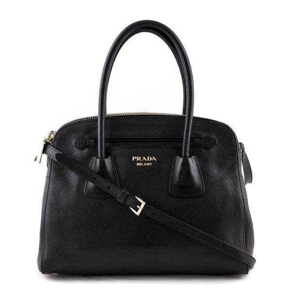 1aa5245da73a Prada Nero Saffiano Cuir Double-Zip Satchel Bag - LOVE that BAG - Preowned  Authentic