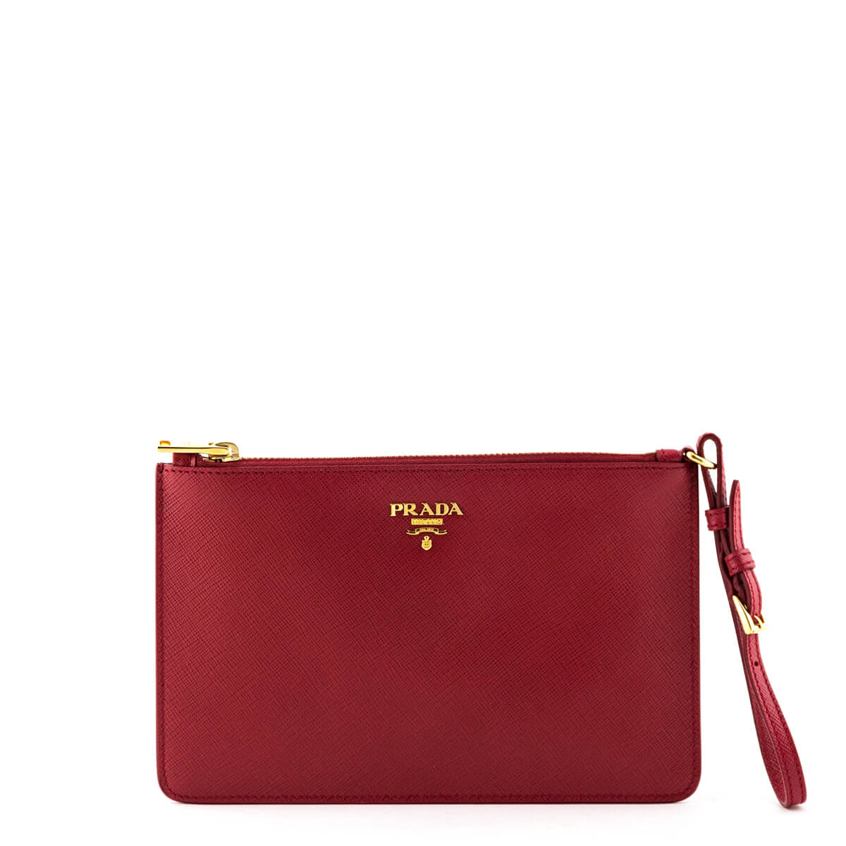 9ac286137731 Prada Red Saffiano Flat Zip Wristlet Clutch - LOVE that BAG - Preowned  Authentic Designer Handbags ...