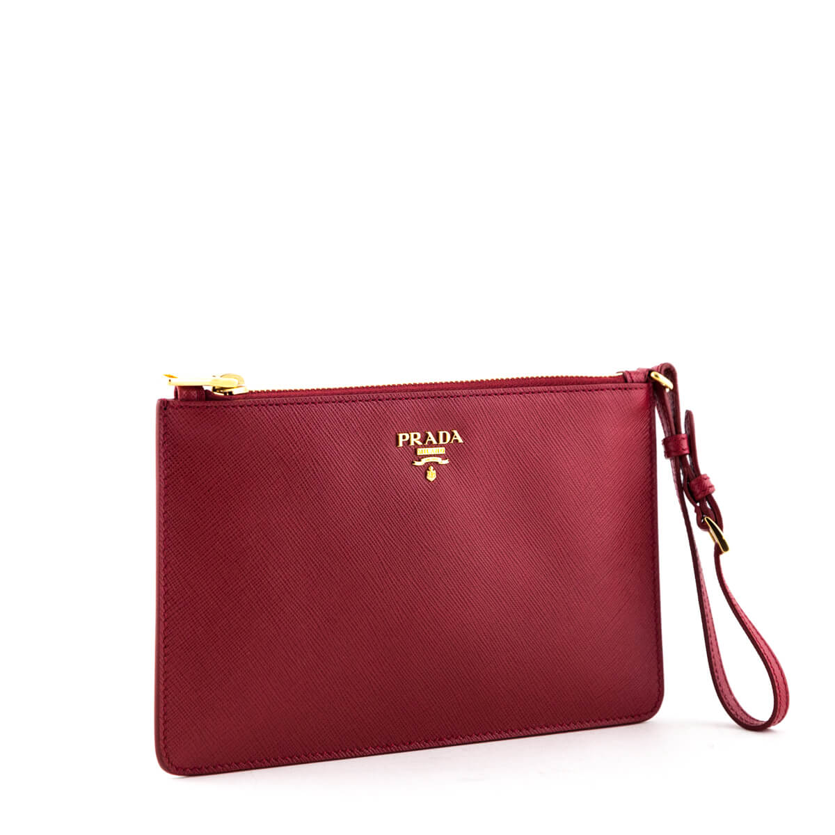 bd57ba40267d ... Prada Red Saffiano Flat Zip Wristlet Clutch - LOVE that BAG - Preowned  Authentic Designer Handbags ...