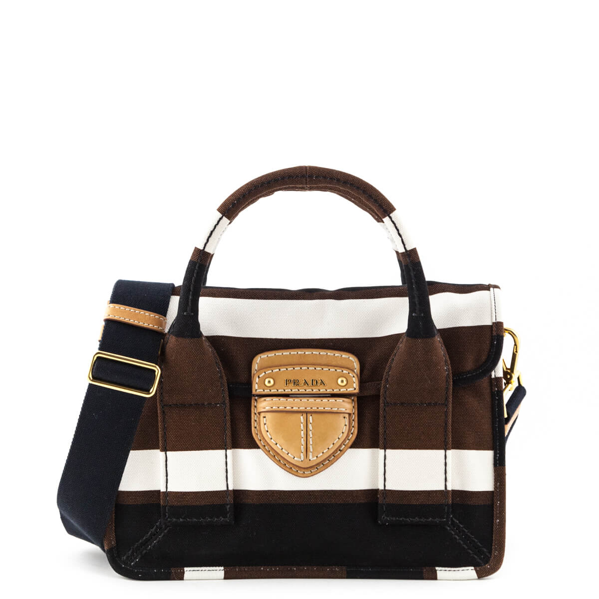 6715eaf68550 Prada White Brown & Black Canapa Righe Satchel bag - LOVE that BAG -  Preowned Authentic ...