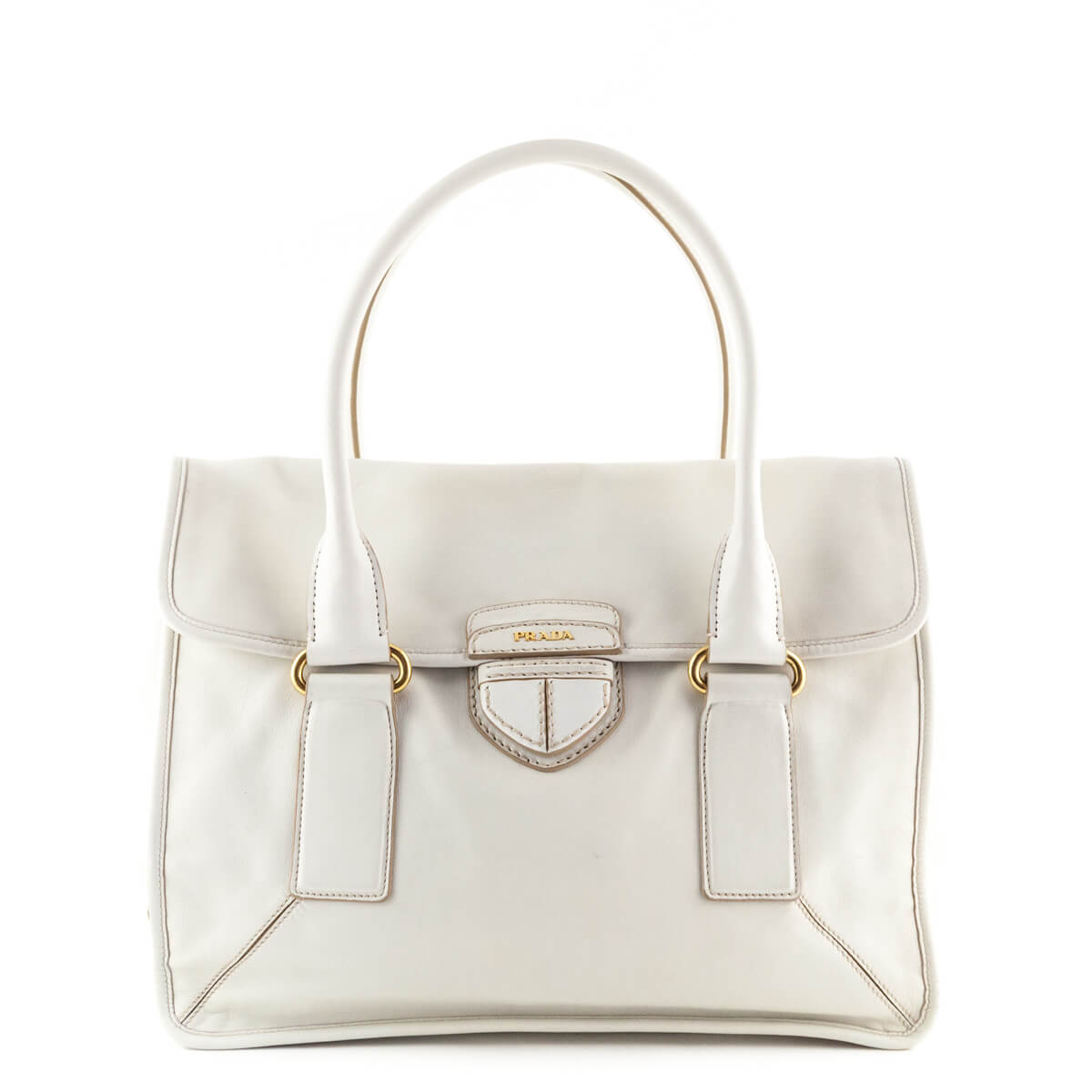 bf9367cbb2 Prada White Calfskin Shoulder Bag - LOVE that BAG - Preowned Authentic  Designer Handbags ...
