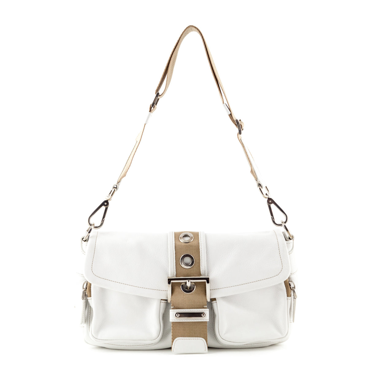 7f3eea78ed Prada White Leather Shoulder Bag - LOVE that BAG - Preowned Authentic  Designer Handbags ...