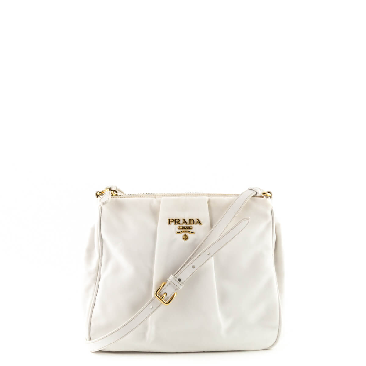 22f8a767b3f6 Prada White Nylon Pleated Crossbody Bag - LOVE that BAG - Preowned  Authentic Designer Handbags ...