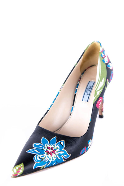 Prada Black Floral Printed Leather Pointed Toe Pumps Size US 9 | EU 39