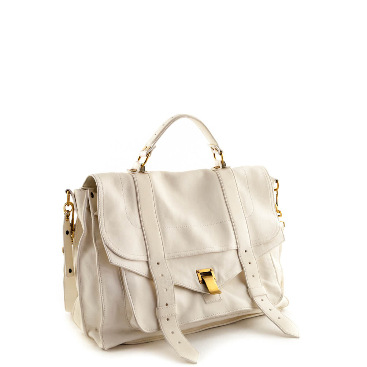 4b35bf55910e ... Proenza Schouler Bone Lambskin Large PS1 Messenger Bag - LOVE that BAG  - Preowned Authentic Designer ...