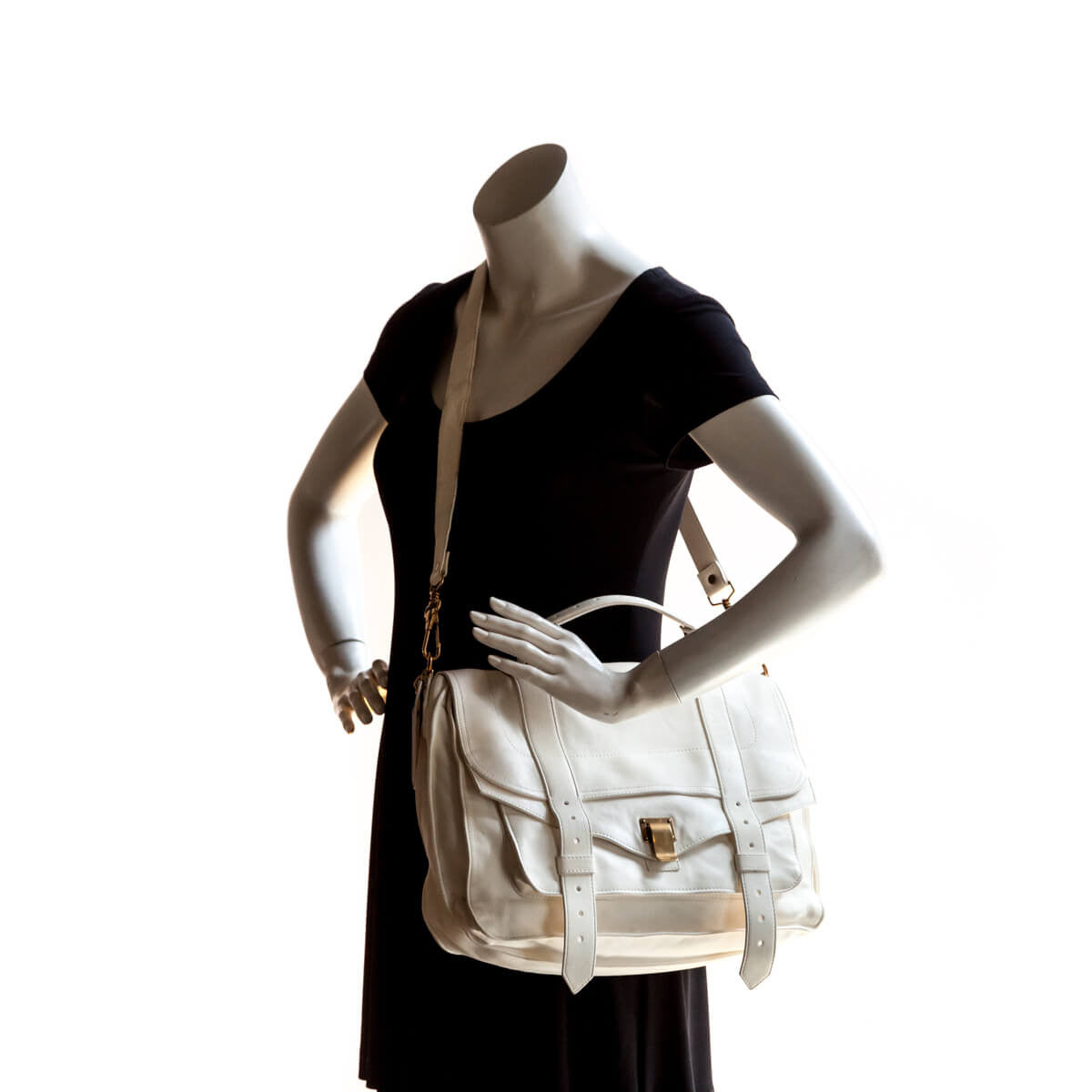 c8b9259900d4 ... Proenza Schouler Bone Lambskin Large PS1 Messenger Bag - LOVE that BAG  - Preowned Authentic Designer