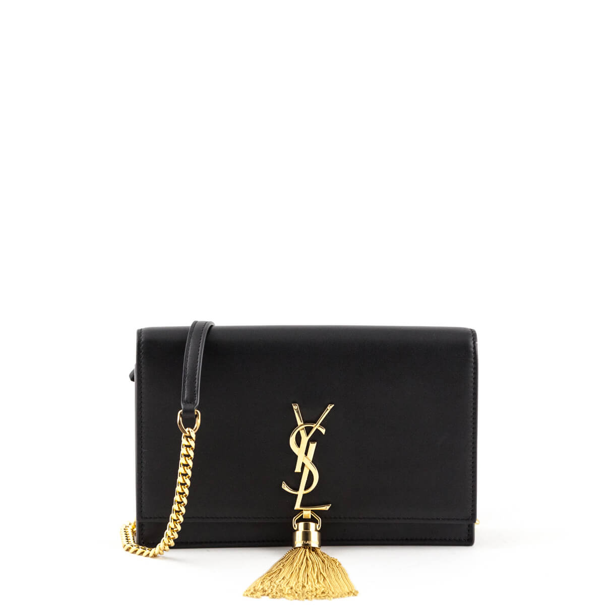e56dd2ec3129 Saint Laurent Black Calfskin Kate Tassel Chain Wallet Bag - LOVE that BAG -  Preowned Authentic ...